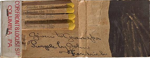 Oldest known matchbook Binghampton John Fendrich Tobacco matchbook